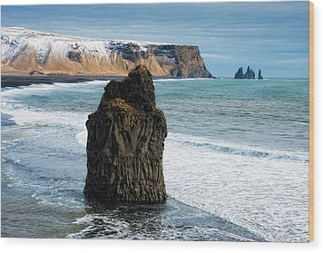 Wood Print featuring the photograph Cliffs And Ocean In Iceland Reynisfjara by Matthias Hauser