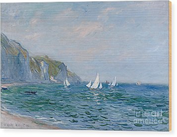 Cliffs And Sailboats At Pourville  Wood Print by Claude Monet