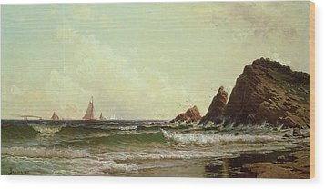 Cliffs At Cape Elizabeth Wood Print by Alfred Thompson Bricher