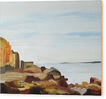 Cliffs By The Seaside Wood Print by Carola Ann-Margret Forsberg