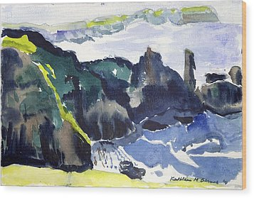 Cliffs In The Sea Wood Print