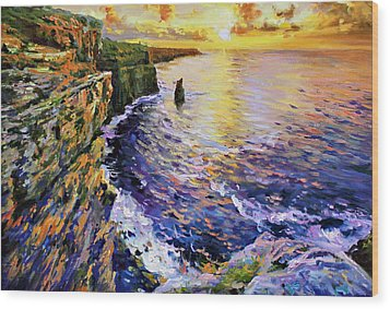 Cliffs Of Moher At Sunset Wood Print by Conor McGuire