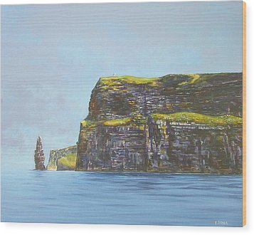 Cliffs Of Moher From The Sea Wood Print by Eamon Doyle