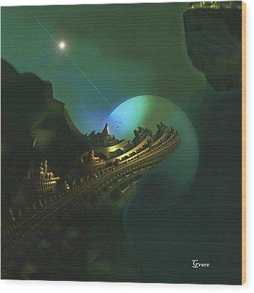 Cliffs Of Tarsa Wood Print by Julie Grace