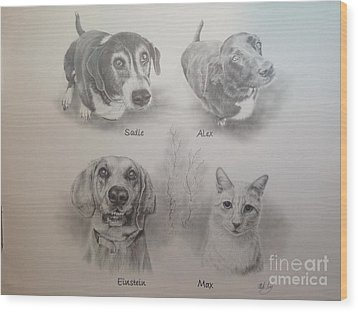 Cline Pets Wood Print by Mike Ivey