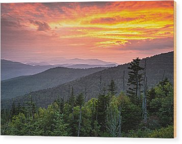 Clingmans Dome Great Smoky Mountains - Purple Mountains Majesty Wood Print by Dave Allen