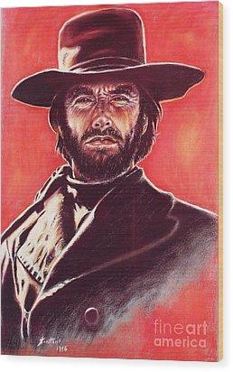 Clint Eastwood Wood Print by Anastasis  Anastasi