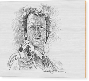Clint Eastwood As Callahan Wood Print by David Lloyd Glover
