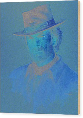 Clint Eastwood Wood Print by Charles Vernon Moran