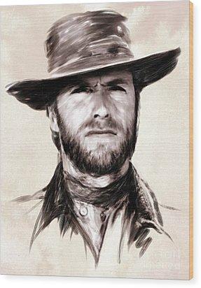 Clint Eastwood Portrait Wood Print by Wu Wei