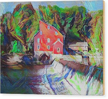 Clinton New Jersey -the Red Mill  On The Raritan River  Watercol Wood Print by Bill Cannon
