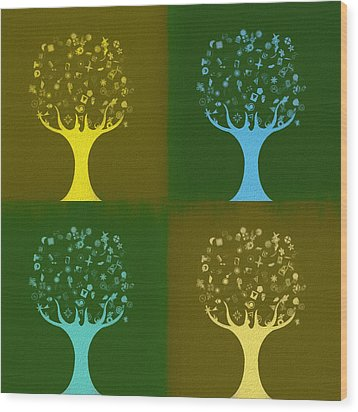 Wood Print featuring the mixed media Clip Art Trees by Dan Sproul