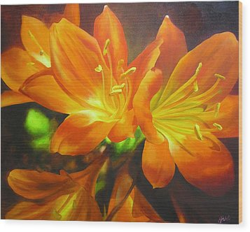 Wood Print featuring the painting Clivias by Chris Hobel