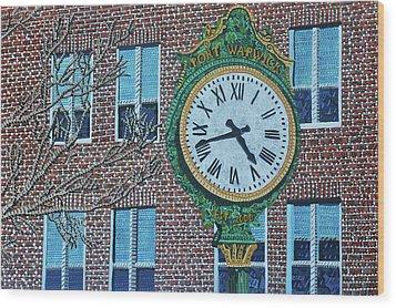 Clock At Port Warwick Wood Print by Micah Mullen