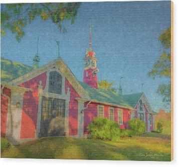 David Ames Clock Farm Wood Print