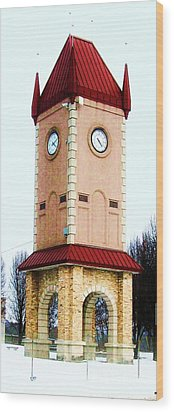 Clock Tower In Czech Village Wood Print by Marsha Heiken
