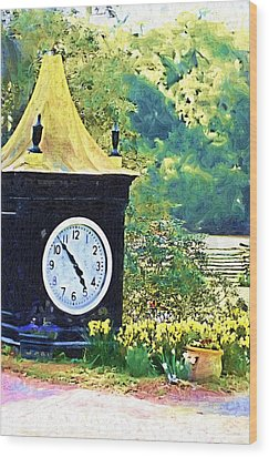 Wood Print featuring the photograph Clock Tower In The Garden by Donna Bentley