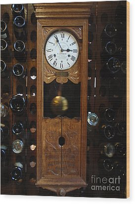 Clock Wine Rack Wood Print by Valia Bradshaw