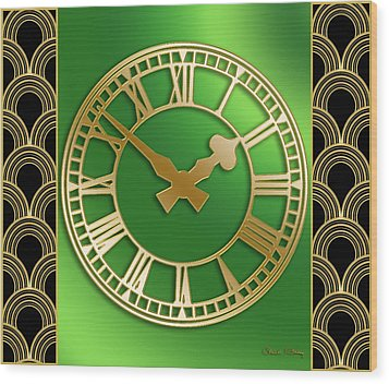 Wood Print featuring the digital art Clock With Border by Chuck Staley