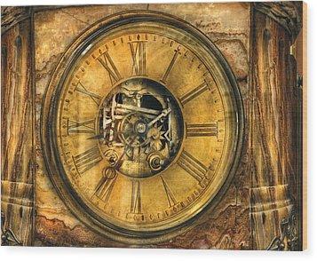 Clockmaker - Clock Works Wood Print by Mike Savad