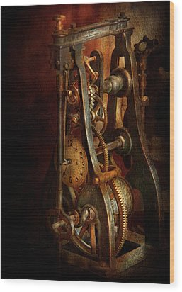 Clockmaker - Careful I Bite Wood Print by Mike Savad