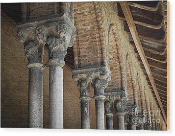 Wood Print featuring the photograph Cloister Columns, Couvent Des Jacobins by Elena Elisseeva