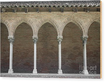 Wood Print featuring the photograph Cloister In Couvent Des Jacobins by Elena Elisseeva