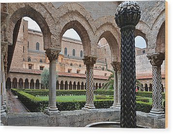 Cloister Of The Abbey Of Monreale. Wood Print by RicardMN Photography
