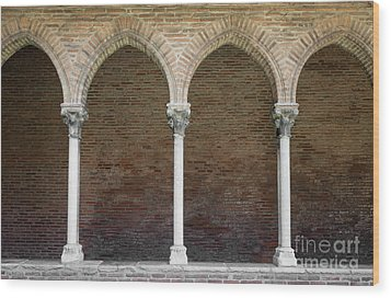 Wood Print featuring the photograph Cloister With Arched Colonnade by Elena Elisseeva