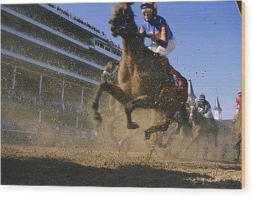 Close Action Shot Of Horses Racing Wood Print by Melissa Farlow