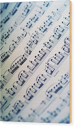 Close-up Of Sheet Music Wood Print by Medioimages/Photodisc