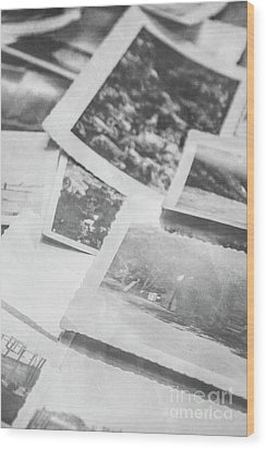 Close Up On Old Black And White Photographs Wood Print