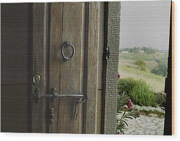 Close View Of A Wooden Door On A Villa Wood Print by Todd Gipstein