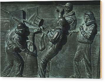 Close View Of Bronze Relief Sculpture Wood Print by Todd Gipstein