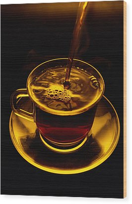 Close View Of Coffee Being Poured Wood Print by Sam Abell