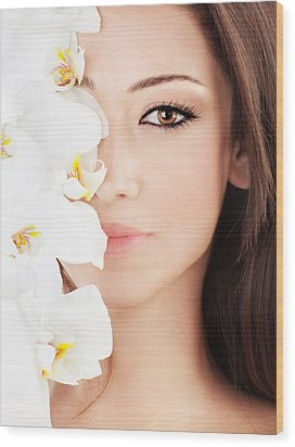 Closeup On Beautiful Face With Flowers Wood Print