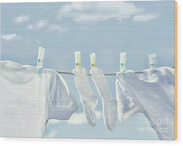 Clothes Hanging On Clothesline Wood Print by Sandra Cunningham