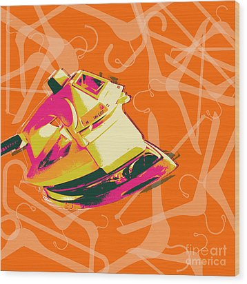 Clothes Iron Pop Art Wood Print