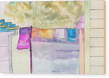 Clothes On The Line Wood Print