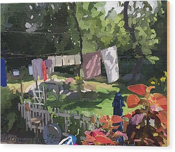 Clothesline And Coleus In An East Gloucester  Ma Garden  Wood Print