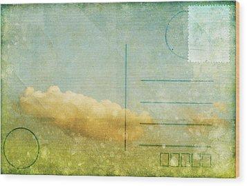 Cloud And Sky On Postcard Wood Print by Setsiri Silapasuwanchai