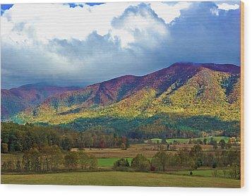 Cloud Covered Peaks Wood Print by DigiArt Diaries by Vicky B Fuller