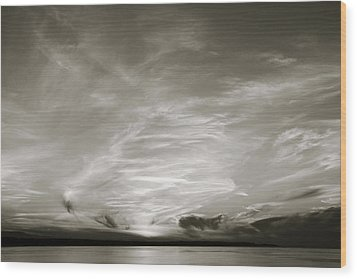 Cloud Drama Bw Wood Print
