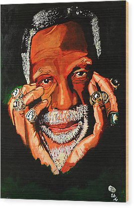 Cloud Eleven - Bill Russell Wood Print by Saheed Fawehinmi