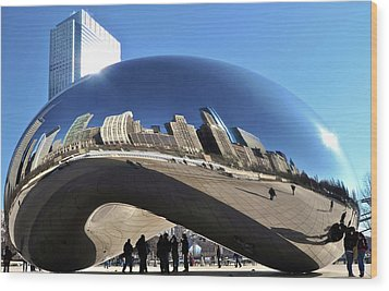 Wood Print featuring the photograph Cloud Gate In The Sun by Sheryl Thomas
