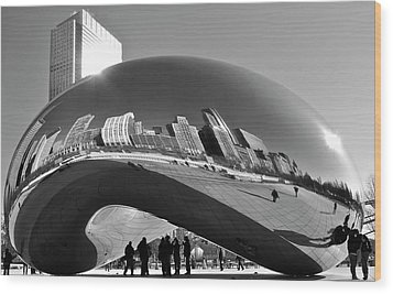 Wood Print featuring the photograph Cloud Gate by Sheryl Thomas