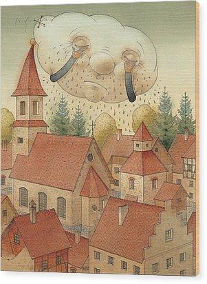 Cloud Wood Print by Kestutis Kasparavicius