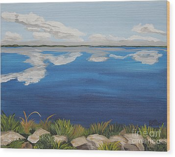 Cloud Lake Wood Print by Annette M Stevenson