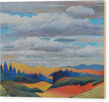 Cloud Lines Wood Print by Gary Coleman