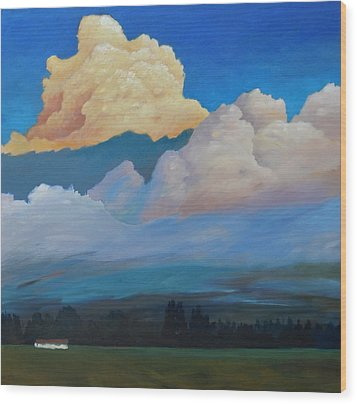 Wood Print featuring the painting Cloud On The Rise by Gary Coleman